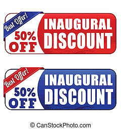 Inaugural discount banners on white background, vector...