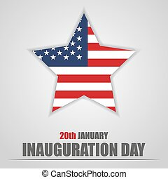 Inauguration Day with USA star flag on a gray background