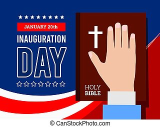 Inauguration of the President of the United States, January 20. Hand on the background of the Bible. Oath of the President. Vector illustration