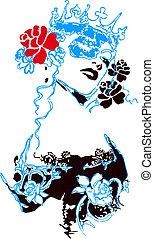 inbillning, kvinna, blomma, illustration
