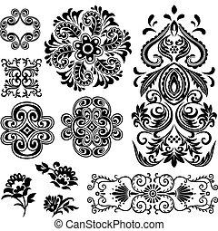 inbillning, virvla runt, blom- mönstra, design