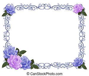 inbjudan, bröllop, blå, lavendel