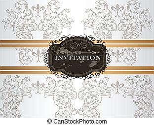 inbjudan, bröllop, kort, elegant