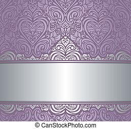 &, inbjudan, design, silver, violett