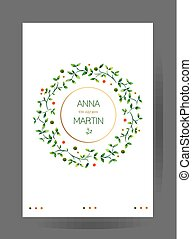 inbjudan, kort, branches., bröllop, blommig, vattenfärg