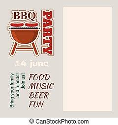 inbjudan, utrymme, parti, barbecue, avskrift