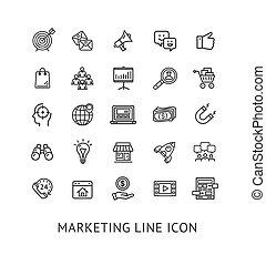 Inbound Marketing Black Thin Line Icon Set. Vector