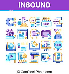 Inbound Marketing Collection Icons Set Vector. Growth Roi ...