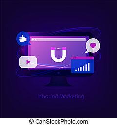 Inbound marketing concept. Business strategy. Computer ...