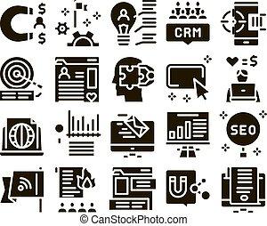 Inbound Marketing Glyph Set Vector. Growth Roi And Seo, ...