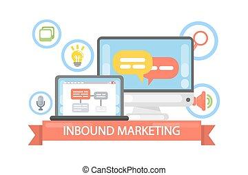 Inbound marketing illustration. Strategy and idea, planning ...