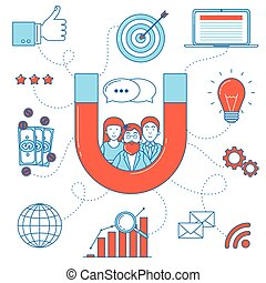 Inbound marketing line art illustration. Digital marketing ...