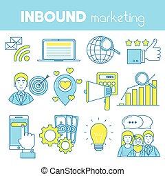 Inbound marketing set of icons. SEO, CRM, blogging, landing ...