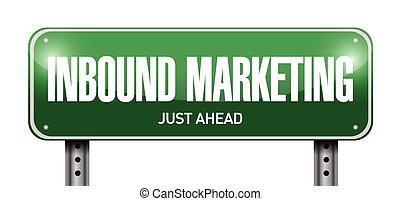 inbound marketing street sign illustration design over a ...
