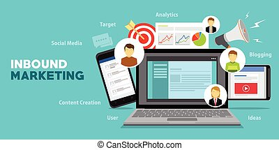 Inbound Marketing Vector with laptop illustration design ...