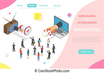 Inbound vs outbound marketing isometric vector concept - ...
