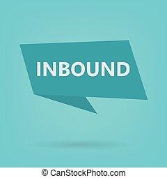 inbound word on sticker- vector illustration