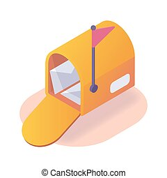 inbox email box concept isometric icon with modern flat style color