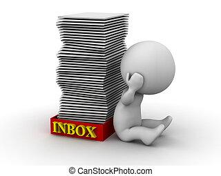 inbox, man, beklemtoonde, volle, 3d