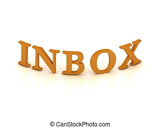 INBOX sign with orange letters
