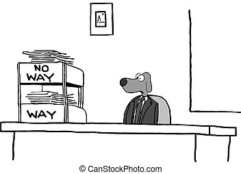 Inbox System - Business cartoon about approving and denying...