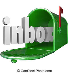 The word inbox in a green metal mailbox to illustrate incoming messages