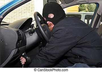 inbrott, bil