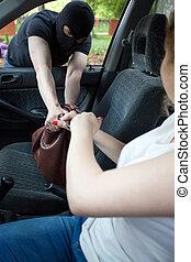inbrottstjuv, kvinna, portmonnä, steals