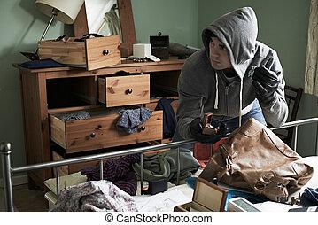 inbrottstjuv, stöld, artikeln, från, sovrum, under, slang,...