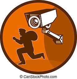 inbrottstjuv, tjuv, spring, med, säkerhet, bevakning kamera