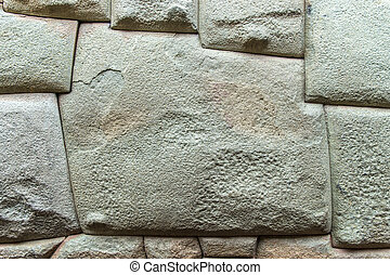 Inca architecture - Close up of a brick wall in inca ...
