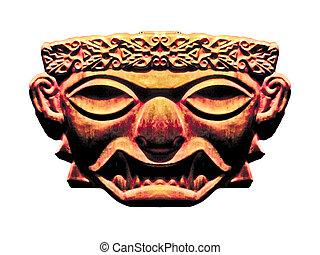 Inca Dark Mask Sculpture