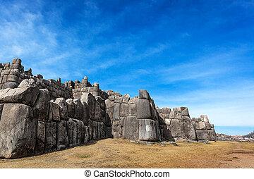 inca, forteresse, vieux