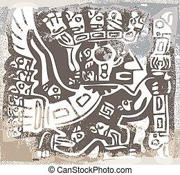inca, icon., vector, grunge, ilustración