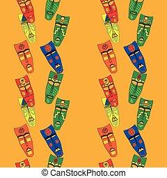 Inca masks. Seamless background pattern.