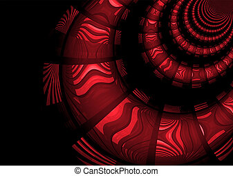 Inca style markings on an abstract tunnel design