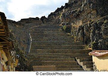 incan, pagórkowata okolica, forteca, ollantaytambo, w, poświęcona dolina, peru