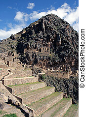 Incan Ruins - Incan hillside fortress at the town of ...