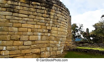 Incan structure and collapsed ruins in Peru