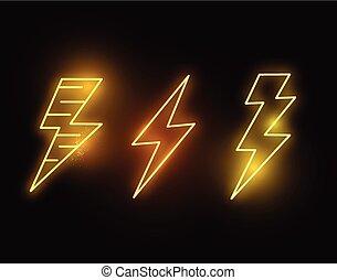 incandescent, éclair, néon, chaud, boulons
