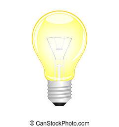 incandescent, ampoule, vecteur, lumière jaune