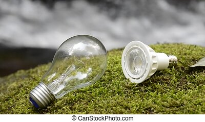 Incandescent and LED - Incandescent light bulb and LED light...