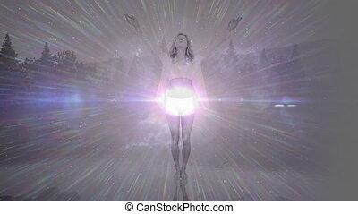 incandescent, animation, en mouvement, femme, lumière, blanc, pratiquer, premier plan, yoga