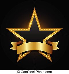 incandescent, brillamment, cinéma, vecteur, signe étoile, théâtre, retro, néon