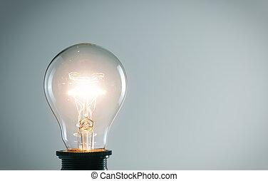 incandescent, bulb., idée, concept, lumière