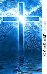 incandescent, ciel, croix