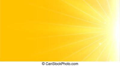 incandescent, clair, fond, rayons, lumière jaune