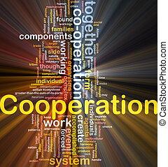 incandescent, concept, coopération, fond