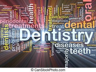 incandescent, concept, fond, art dentaire