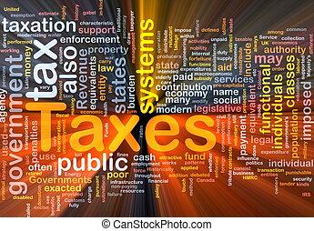 incandescent, concept, impôts, fond